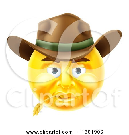 Clipart of a 3d Yellow Male Cowboy Smiley Emoji Emoticon Face Wearing a Hat and Chewing on Straw - Royalty Free Vector Illustration by AtStockIllustration