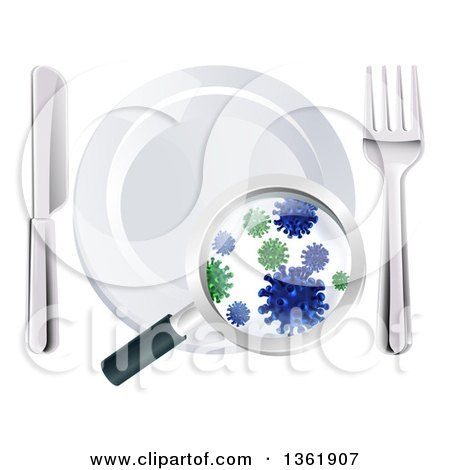 Clipart of a 3d Magnifying Glass Revealing Germs and Bacteria on a Plate and Silverware - Royalty Free Vector Illustration by AtStockIllustration