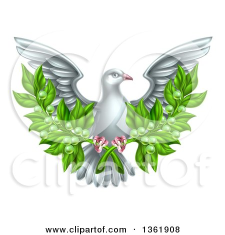 Clipart of a Flying White Peace Dove Holding Crossed Olive Branches - Royalty Free Vector Illustration by AtStockIllustration