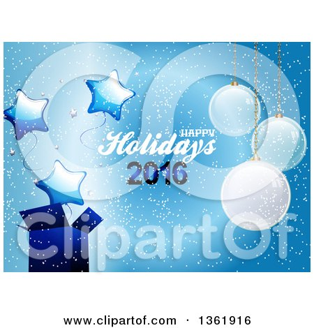 Clipart of a Happy Holidays 2016 Text with Suspended Christmas Ornaments, a Gift and Star Balloons on Blue - Royalty Free Vector Illustration by elaineitalia