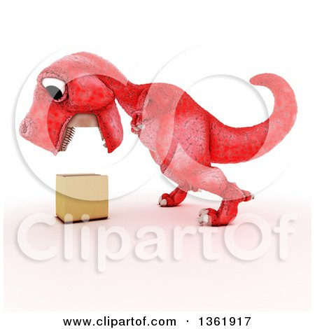 Clipart of a 3d Red Tyrannosaurus Rex Dinosaur Looking down at a Box, on a White Background - Royalty Free Illustration by KJ Pargeter