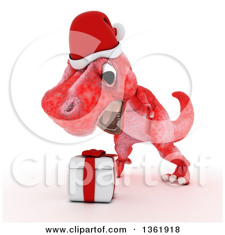 Clipart of a 3d Red Tyrannosaurus Rex Dinosaur Roaring over a Christmas Gift, on a White Background - Royalty Free Illustration by KJ Pargeter