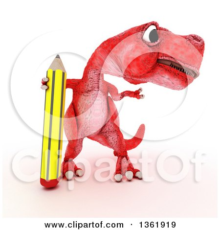 Clipart of a 3d Red Tyrannosaurus Rex Dinosaur Presenting and Standing with a Pencil, on a White Background - Royalty Free Illustration by KJ Pargeter