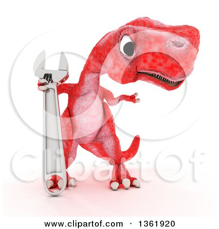 Clipart of a 3d Red Tyrannosaurus Rex Dinosaur Holding a Wrench, on a White Background - Royalty Free Illustration by KJ Pargeter
