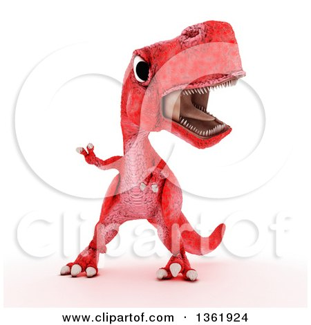 Clipart of a 3d Red Tyrannosaurus Rex Dinosaur, on a White Background - Royalty Free Illustration by KJ Pargeter