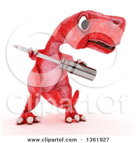 Clipart of a 3d Red Tyrannosaurus Rex Dinosaur Holding a Phillips Screwdriver, on a White Background - Royalty Free Illustration by KJ Pargeter