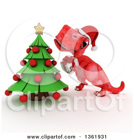 Clipart of a 3d Red Tyrannosaurus Rex Dinosaur Holding a Gift by a Christmas Tree, on a White Background - Royalty Free Illustration by KJ Pargeter