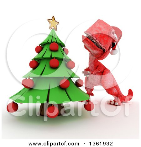 Clipart of a 3d Red Tyrannosaurus Rex Dinosaur Decorating a Christmas Tree, on a White Background - Royalty Free Illustration by KJ Pargeter