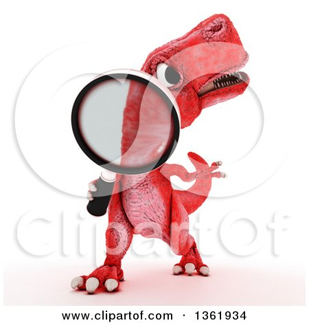 Clipart of a 3d Red Tyrannosaurus Rex Dinosaur Searching with a Magnifying Glass on a White Background - Royalty Free Illustration by KJ Pargeter