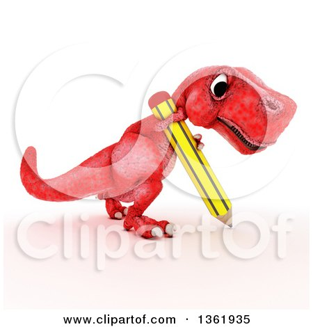 Clipart of a 3d Red Tyrannosaurus Rex Dinosaur Writing with a Pencil, on a White Background - Royalty Free Illustration by KJ Pargeter