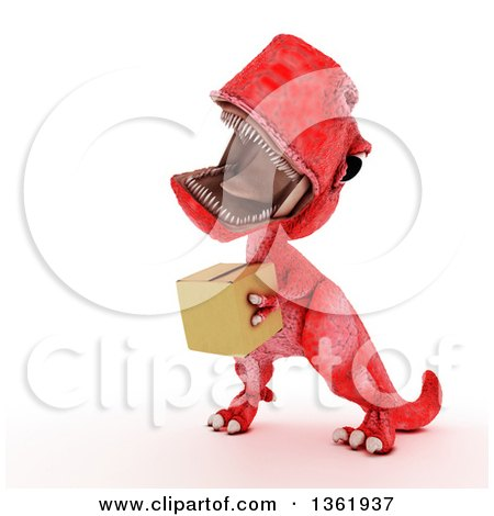 Clipart of a 3d Red Tyrannosaurus Rex Dinosaur Carrying a Box, on a White Background - Royalty Free Illustration by KJ Pargeter