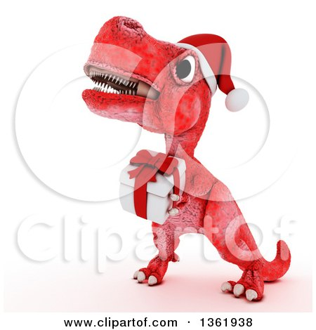Clipart of a 3d Red Tyrannosaurus Rex Dinosaur Carrying a Christmas Gift, on a White Background - Royalty Free Illustration by KJ Pargeter