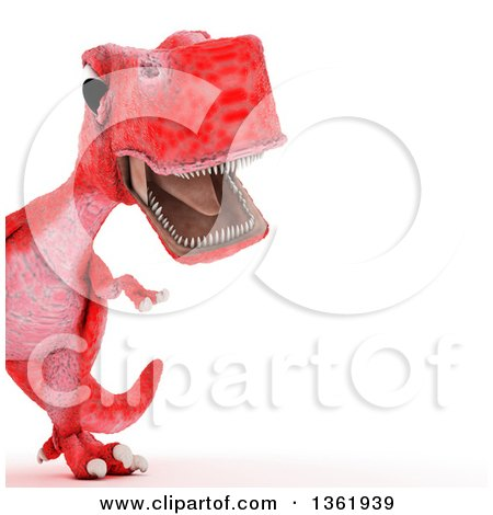 Clipart of a 3d Red Tyrannosaurus Rex Dinosaur Roaring, Cropped, on a White Background - Royalty Free Illustration by KJ Pargeter