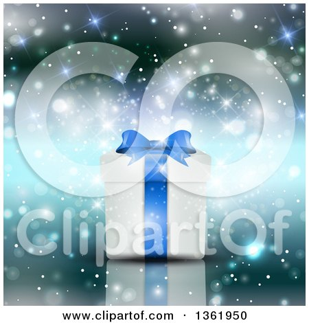Clipart of a 3d White and Blue Christmas or Birthday Gift over Sparkles and Flares - Royalty Free Vector Illustration by KJ Pargeter