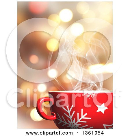 Clipart of a 3d Steamy Snowflake Christmas Mug with a Hot Beverage over Bokeh Flares - Royalty Free Illustration by KJ Pargeter