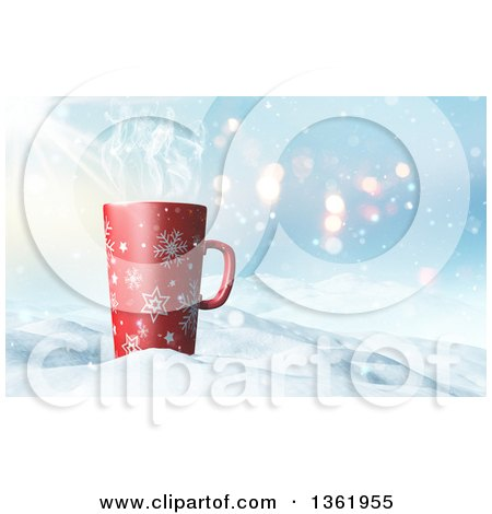 Clipart of a 3d Tall Christmas Coffee Snowflake Mug in Snow - Royalty Free Illustration by KJ Pargeter
