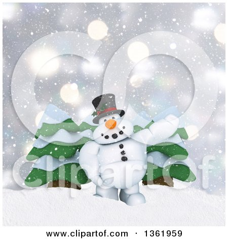 Clipart of a 3d Snowman Character Presenting in the Snow, by Evergreen Trees - Royalty Free Illustration by KJ Pargeter