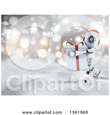 Clipart of a 3d Futuristic Robot Wearing a Christmas Santa Hat and Carrying a Big Gift in the Snow - Royalty Free Illustration by KJ Pargeter