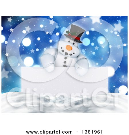 Clipart of a 3d Snowman Character over a Blank Sign, Snow and Bokeh with Stars - Royalty Free Illustration by KJ Pargeter