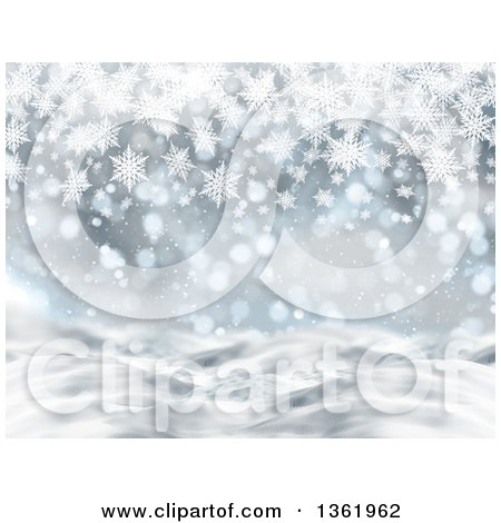 Clipart of a 3d Christmas or Winter Background of Snowflakes and Bokeh Flares - Royalty Free Illustration by KJ Pargeter
