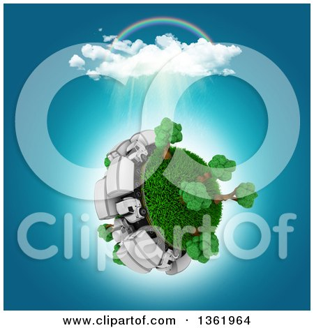 Clipart of a 3d Busy Roadway with Big Rig Trucks Around a Grassy Planet with Trees, a Rainbow and Rain Cloud, on White - Royalty Free Illustration by KJ Pargeter