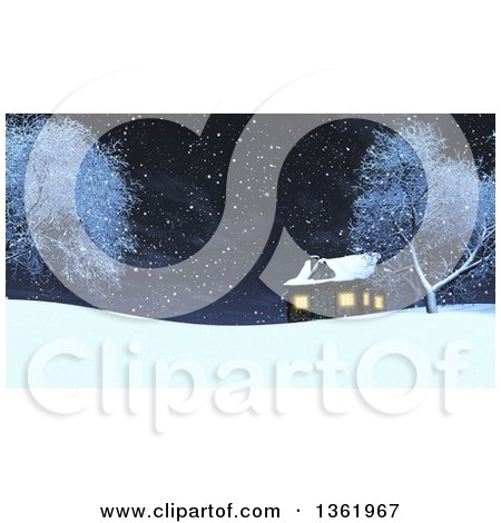 Clipart of a 3d Log Cabin on a Snowy Winter Hill at Night - Royalty Free Illustration by KJ Pargeter