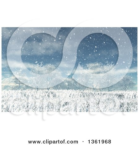 Clipart of a 3d Winter Landscape Background of Grasses and Bare Trees in the Snow - Royalty Free Illustration by KJ Pargeter