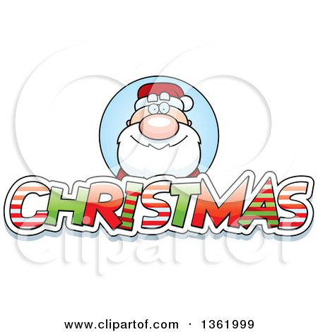 Clipart Of Santa Claus Over Patterned Christmas Text Royalty Free Vector Illustration