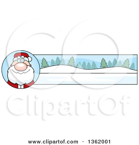 Clipart of a Santa Claus and Winter Landscape Christmas Banner - Royalty Free Vector Illustration by Cory Thoman