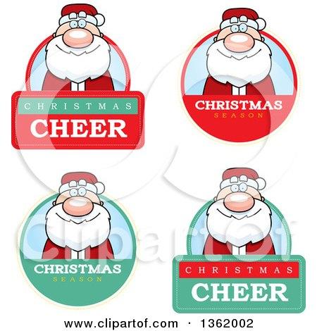Clipart of Santa Claus Christmas Badges - Royalty Free Vector Illustration by Cory Thoman