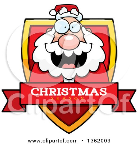 Clipart of a Santa on a Shield with a Christmas Season Text Banner - Royalty Free Vector Illustration by Cory Thoman