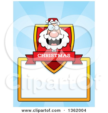 Clipart of a Santa Christmas Shield over a Blank Sign and Blue Rays - Royalty Free Vector Illustration by Cory Thoman