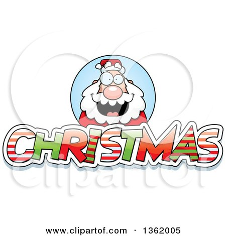 Clipart of Santa Claus over Patterned Christmas Text - Royalty Free Vector Illustration by Cory Thoman