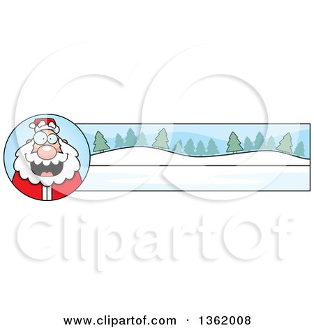 Clipart of a Santa and Winter Landscape Christmas Banner - Royalty Free Vector Illustration by Cory Thoman