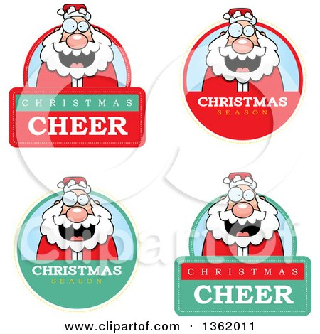 Clipart of Santa Christmas Badges - Royalty Free Vector Illustration by Cory Thoman