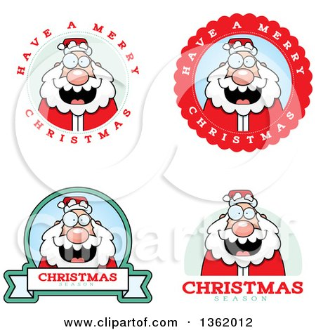 Clipart of Santa Christmas Badges - Royalty Free Vector Illustration by Cory Thoman