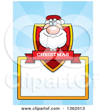 Clipart of a Santa Claus Christmas Shield over a Blank Sign and Blue Rays - Royalty Free Vector Illustration by Cory Thoman