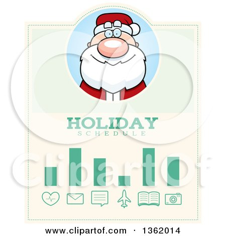 Clipart of a Santa Claus Christmas Holiday Schedule Design - Royalty Free Vector Illustration by Cory Thoman