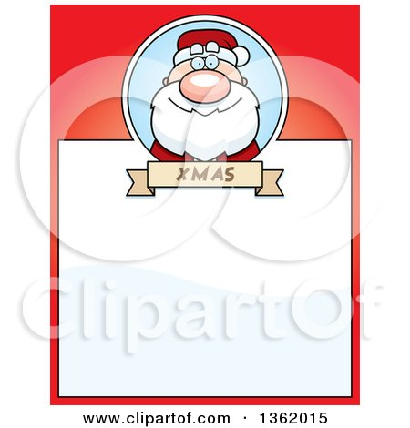 Clipart of a Christmas Santa Claus on a Red Page with Text Space - Royalty Free Vector Illustration by Cory Thoman