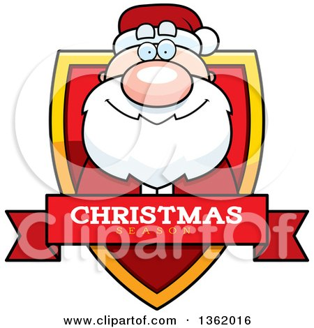Clipart of a Santa Claus on a Shield with a Christmas Season Text Banner - Royalty Free Vector Illustration by Cory Thoman