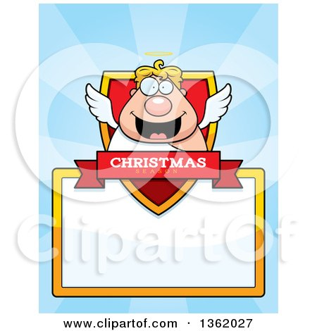 Clipart of a Chubby Male Angel Christmas Shield over a Blank Sign and Blue Rays - Royalty Free Vector Illustration by Cory Thoman