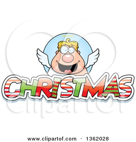 Clipart of a Chubby Male Angel over Patterned Christmas Text - Royalty Free Vector Illustration by Cory Thoman