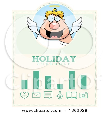 Clipart of a Chubby Male Angel Christmas Holiday Schedule Design - Royalty Free Vector Illustration by Cory Thoman