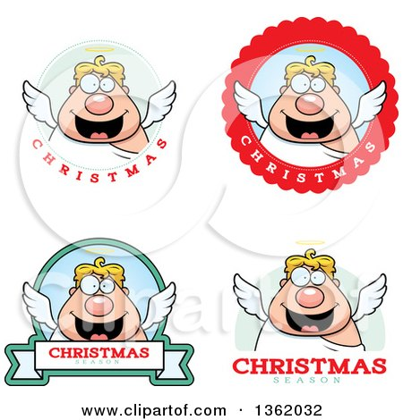 Clipart of Chubby Male Angel Christmas Badges - Royalty Free Vector Illustration by Cory Thoman