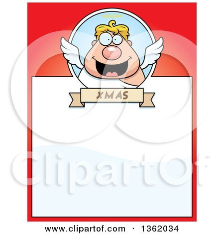 Clipart of a Chubby Christmas Male Angel on a Red Page with Text Space - Royalty Free Vector Illustration by Cory Thoman