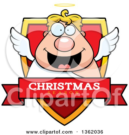 Clipart of a Chubby Male Angel on a Shield with a Christmas Season Text Banner - Royalty Free Vector Illustration by Cory Thoman