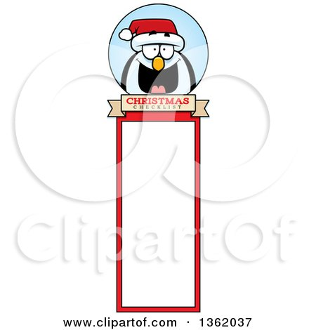 Clipart of a Penguin Christmas Bookmark Design - Royalty Free Vector Illustration by Cory Thoman