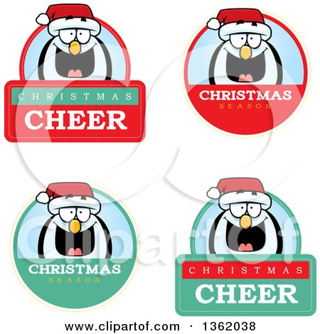 Clipart of Penguin Christmas Badges - Royalty Free Vector Illustration by Cory Thoman