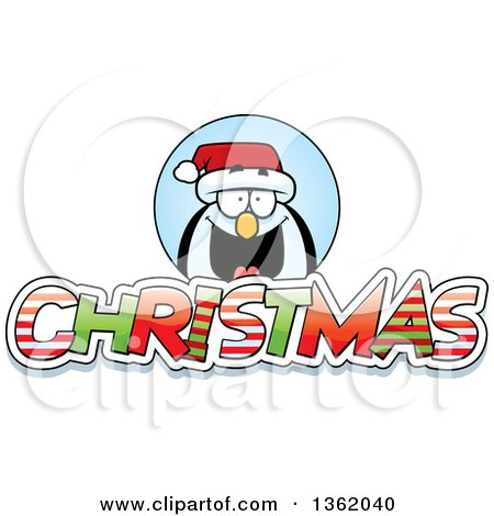 Clipart of a Penguin over Patterned Christmas Text - Royalty Free Vector Illustration by Cory Thoman