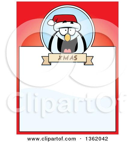 Clipart of a Christmas Penguin on a Red Page with Text Space - Royalty Free Vector Illustration by Cory Thoman